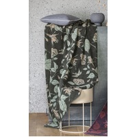 DARK GREEN FLORAL SAVONA THROW
