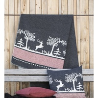 CHARCOAL ALPINE STYLE FOREST LIFE SYLT THROW