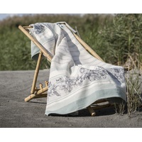LIGHT GREEN FLORAL BORDURE SYLT THROW