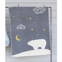 GREY POLAR BEAR FINN BASSINET BLANKET