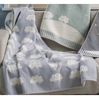 LIGHT BLUE SHEEP ALL OVER FINN COT BLANKET