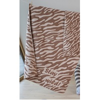 BROWN STAY WILD FINN COT BLANKET