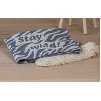 GREY STAY WILD FINN COT BLANKET