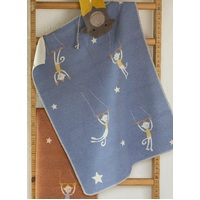 BLUE CIRCUS MONKEYS JUWEL BASSINET BLANKET