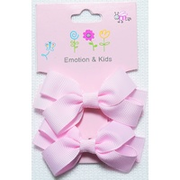 PINK 2 BOWS PLAIN LGE - CLIPS