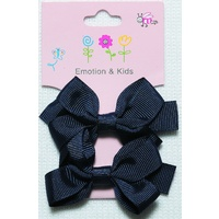 NAVY 2 BOWS PLAIN LGE - CLIPS