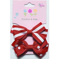 RED 2 BOWS STRIPES & SPOTS LG - CLIPS