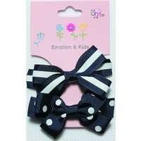 NAVY 2 BOWS STRIPES & SPOTS LG - CLIPS