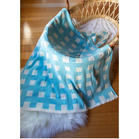BLUE CHECK BASINET BLANKET
