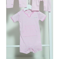 PINK FRENCH STRIPE V-NECK SHORTALL 3-6 M