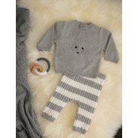 GREY BUNNY KNITTED 2 PIECE OUTFIT 3-6 MONTHS