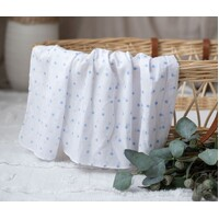 WHITE MUSLIN WITH BLUE STARS