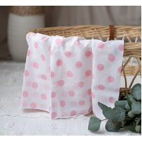 WHITE MUSLIN WITH PINK SPOTS