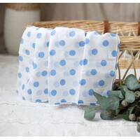 WHITE MUSLIN WITH BLUE SPOTS
