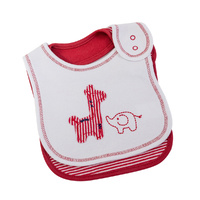 WHITE WITH RED SAFARI & FINE STRIPE BIB SET