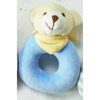 PALE BLUE BEAR VELOUR RATTLE
