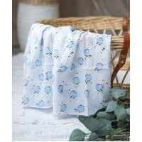BLUE HOT AIR BALLOON MUSLIN WRAP