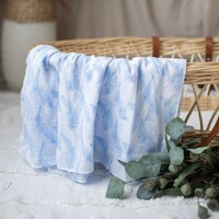 BLUE FEATHER MUSLIN WRAP