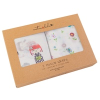 JAPANESE DOLL & FIELD OF FLOWERS MUSLIN 2 PACK