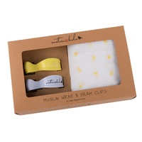 YELLOW STAR MUSLIN WITH YELLOW AND WHITE CLIP PACK