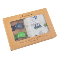 TRANSPORT MUSLIN/NAVY & GREEN PRAM CLIP PACK