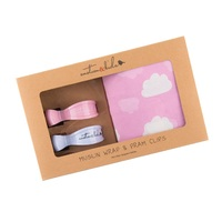 PINK CLOUDS MUSLIN WRAP & SOLID PINK CLIP PACK