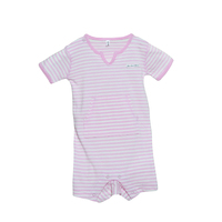 PINK FRENCH STRIPE V-NECK SHORTALL OUTFIT