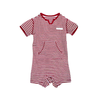 RED FRENCH STRIPE V-NECK SHORTALL OUTFIT