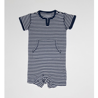 NAVY FRENCH STRIPE V-NECK SHORTALL OUTFIT
