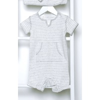 GREY FRENCH STRIPE V-NECK SHORTALL OUTFIT