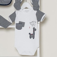 Navy & White Safari Short Sleeve Bodysuit