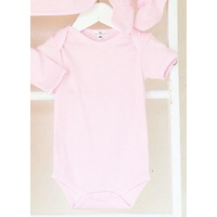 Pink Fine Stripe Short Sleeve Body Suit