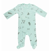 Mint Doodle Zipped Footed Outfit