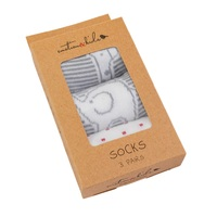 Grey & White Safari Socks 3 Pack