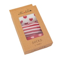 Red Stripe, Spots and Hearts Socks 3 Pack