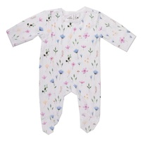 FLEUR ZIPPED ORGANIC COTTON FOOTED OUTFIT