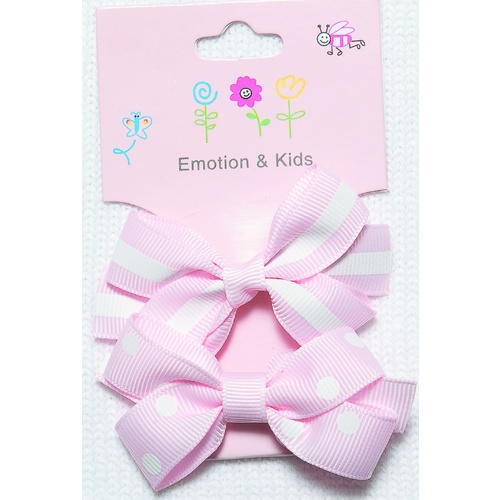 PINK 2 BOWS STRIPES & SPOTS LG - CLIPS