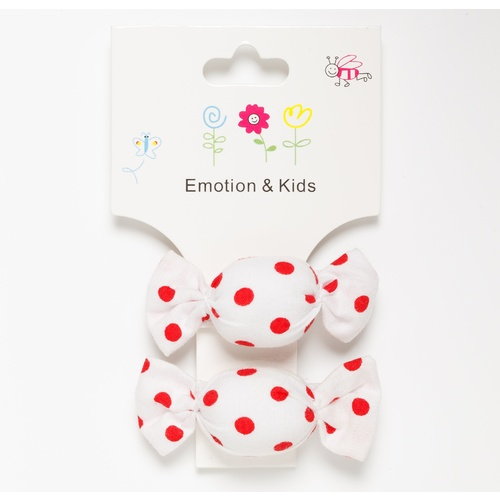 WHITE & RED DOTS LOLLIES  - CLIPS