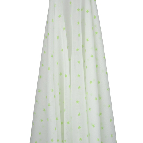 WHITE MUSLIN WITH GREEN STARS