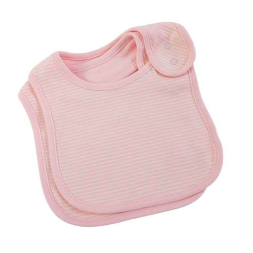 PINK FINE STRIPE BIBS 2 PC SET