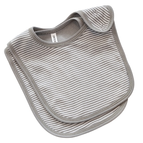 GREY FINE STRIPE 2 PC BIB SET