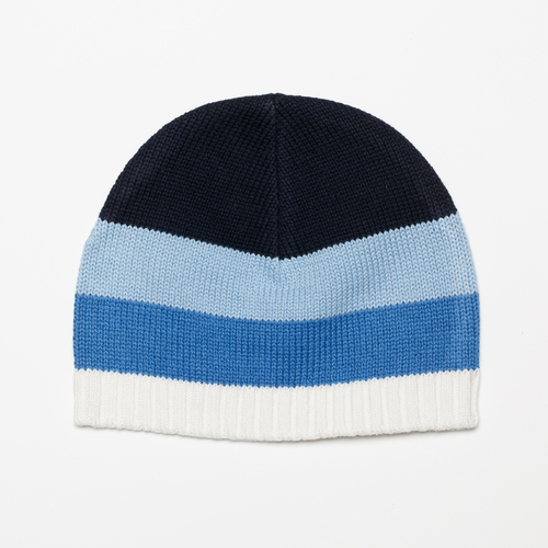 BLUE THICK STRIPE KNITTED HAT