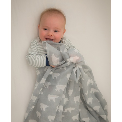 GREY POLAR BEAR MUSLIN WRAP