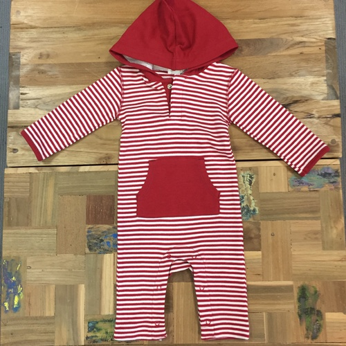Red French Stripe Hooded Outfit